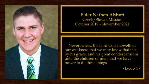 October 2019 to October 2021<br/>Elder Nathen Abbott