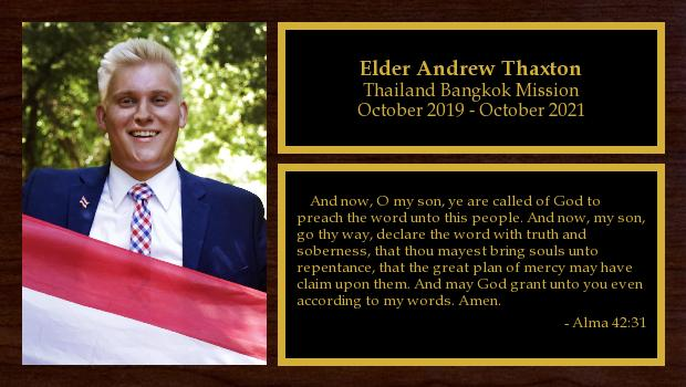 October 2019 to October 2021<br/>Elder Andrew Thaxton