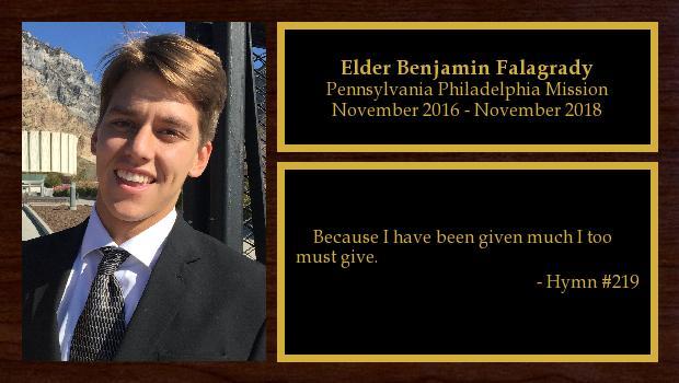November 2016 to December 2018<br/>Elder Benjamin Falagrady