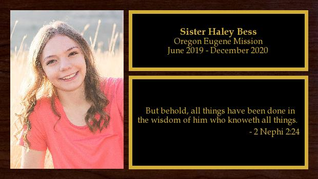 June 2019 to December 2020<br/>Sister Haley Bess