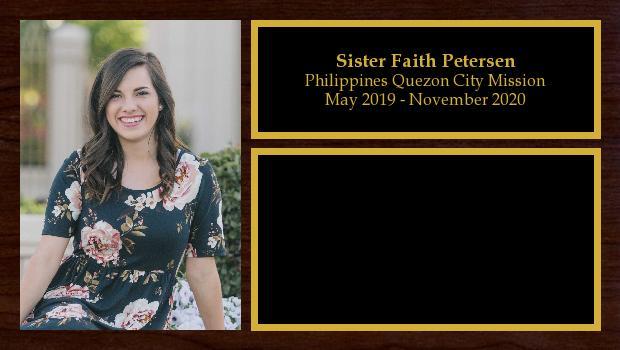 May 2019 to November 2020<br/>Sister Faith Petersen