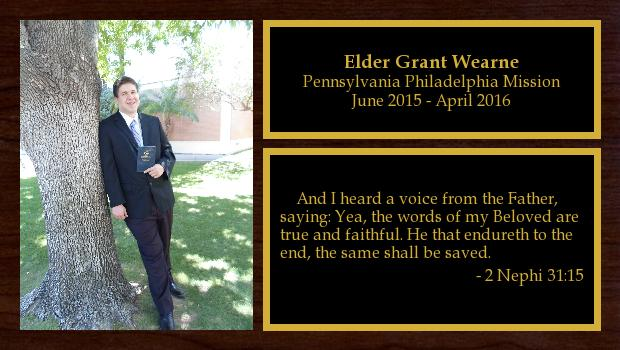 June 2015 to April 2016<br/>Elder Grant Wearne