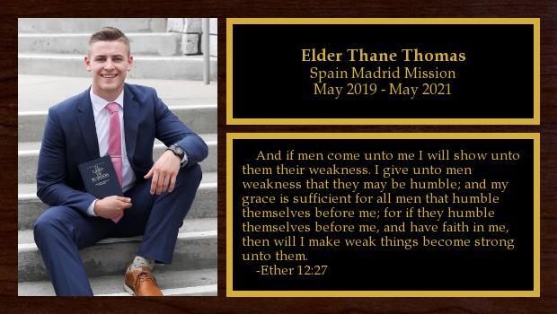 May 2019 to May 2021<br/>Elder Thane Thomas