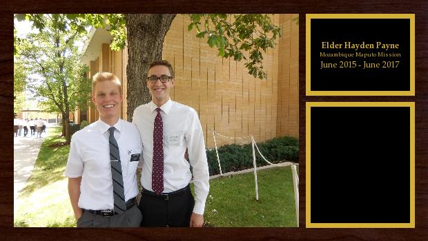 June 2015 to June 2017<br/>Elder Hayden Payne