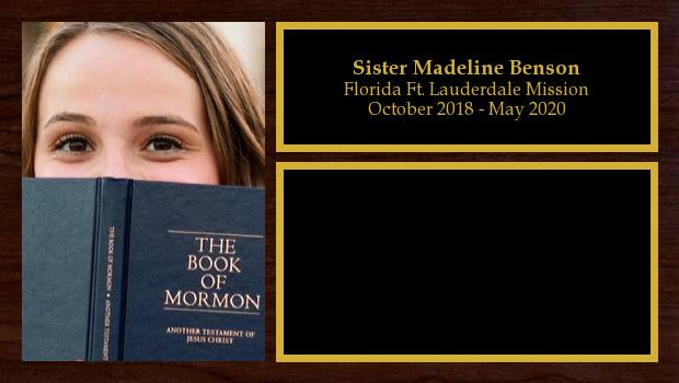 October 2018 to May 2020<br/>Sister Madeline Benson