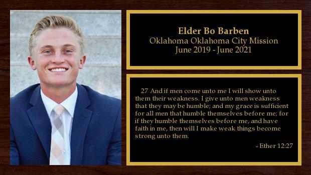 June 2019 to June 2021<br/>Elder Bo Barben