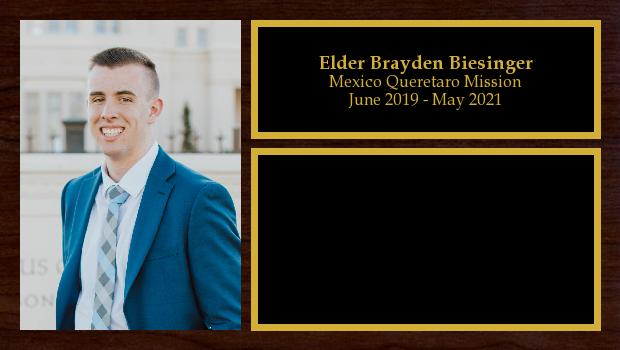 June 2019 to June 2021<br/>Elder Brayden Biesinger