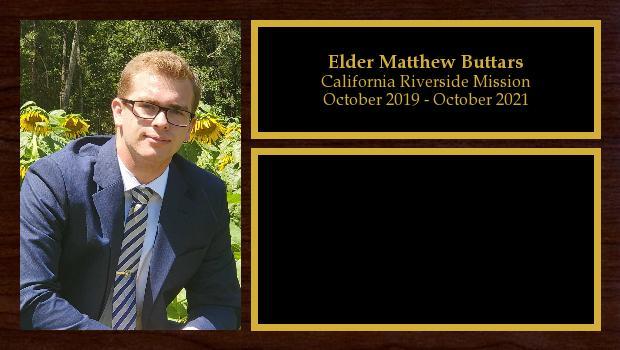October 2019 to October 2021<br/>Elder Matthew Buttars