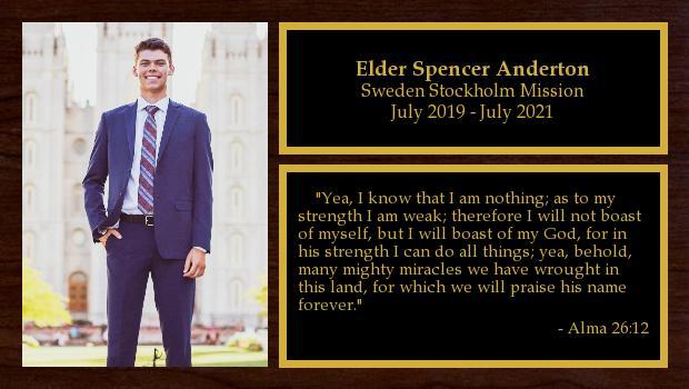 July 2019 to July 2021<br/>Elder Spencer Anderton