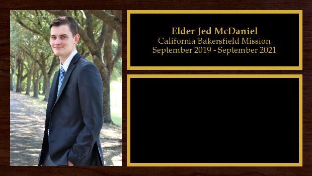 September 2019 to September 2021<br/>Elder Jed McDaniel