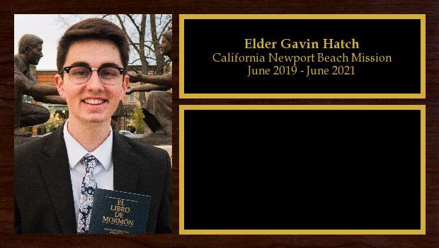 June 2019 to June 2021<br/>Elder Gavin Hatch