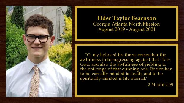 August 2019 to August 2021<br/>Elder Taylor Bearnson