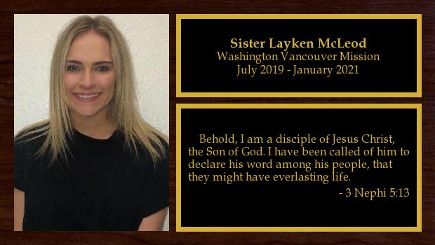 July 2019 to April 2020<br/>Sister Layken McLeod