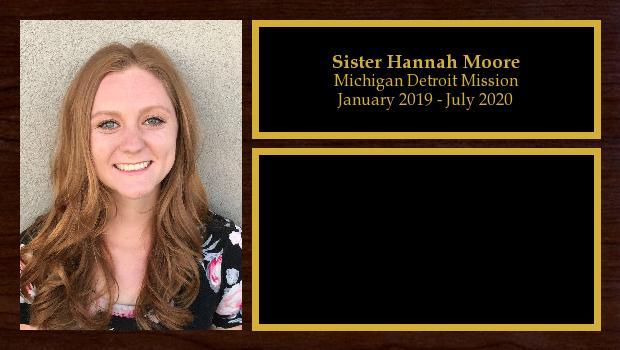 January 2019 to July 2020<br/>Sister Hannah Moore