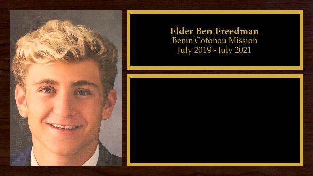 July 2019 to July 2021<br/>Elder Ben Freedman