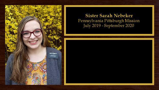 April 2019 to September 2020<br/>Sister Sarah Nebeker