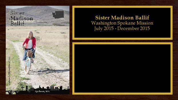 July 2015 to December 2015<br/>Sister Madison Ballif