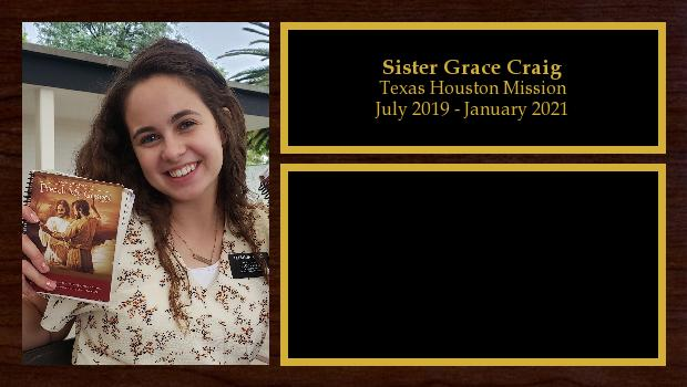 July 2019 to January 2021<br/>Sister Grace Craig