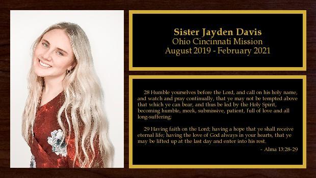 August 2019 to February 2021<br/>Sister Jayden Davis