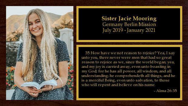 July 2019 to January 2021<br/>Sister Jacie Mooring