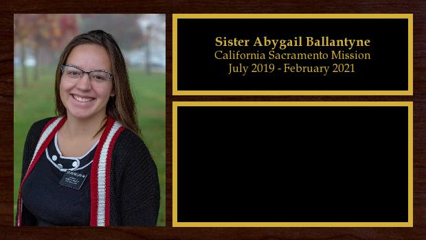 July 2019 to February 2021<br/>Sister Abygail Ballantyne