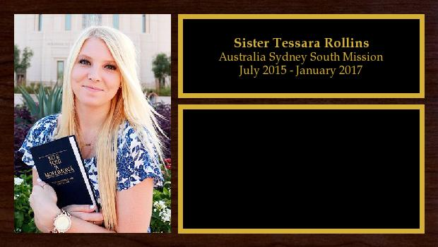 July 2015 to January 2017<br/>Sister Tessara Rollins