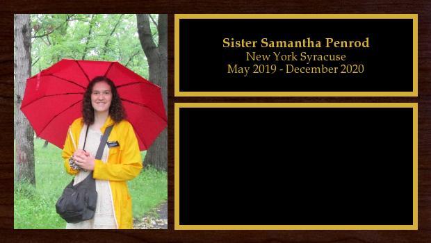 May 2019 to December 2020<br/>Sister Samantha Penrod
