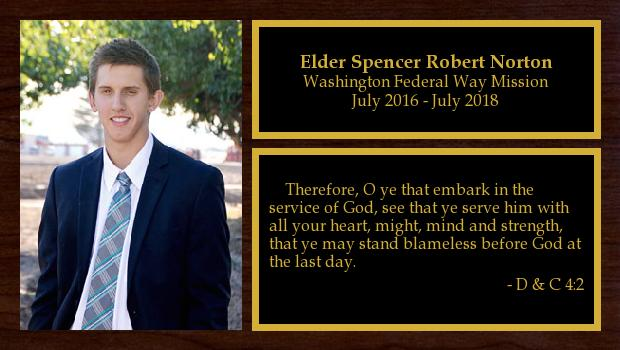 July 2016 to July 2018<br/>Elder Spencer Robert Norton