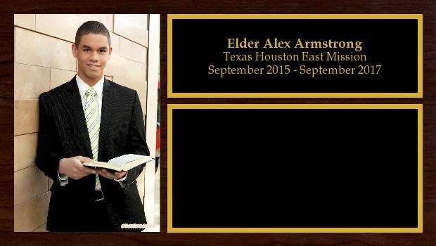 September 2015 to September 2017<br/>Elder Alex Armstrong