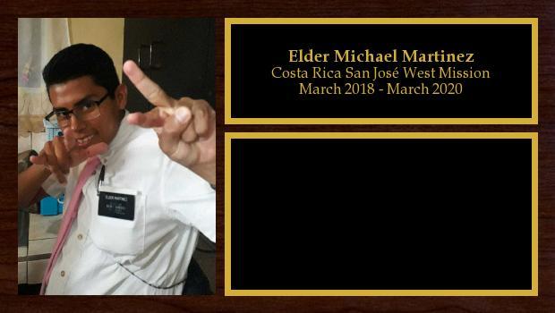 March 2018 to March 2020<br/>Elder Michael Martinez