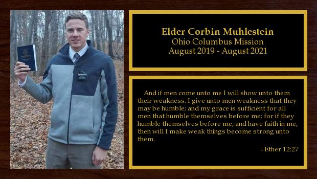 August 2019 to August 2021<br/>Elder Corbin Muhlestein