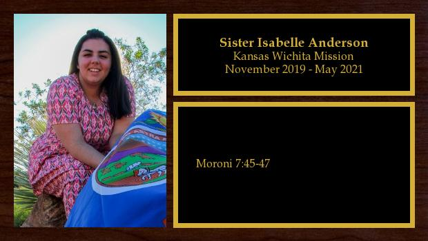 November 2019 to May 2021<br/>Sister Isabelle Anderson