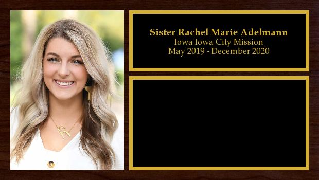 May 2019 to December 2020<br/>Sister Rachel Marie Adelmann