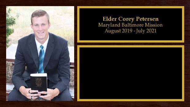 August 2019 to July 2021<br/>Elder Corey Petersen