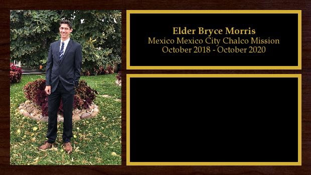October 2018 to March 2020<br/>Elder Bryce Morris