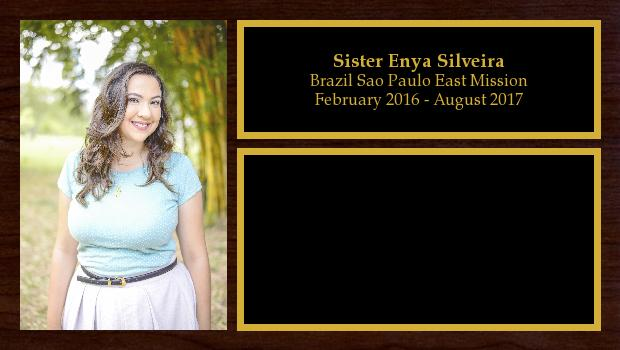 February 2016 to August 2017<br/>Sister Enya Silveira