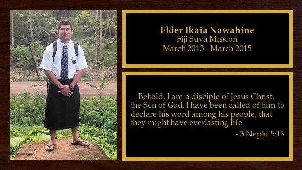 March 2013 to March 2015<br/>Elder Ikaia Nawahine