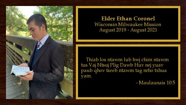 August 2019 to August 2021<br/>Elder Ethan Coronel