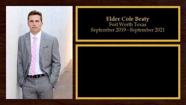 September 2019 to September 2021<br/>Elder Cole Beaty