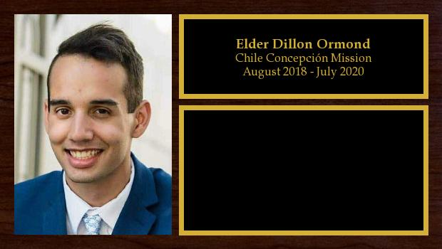 August 2018 to March 2020<br/>Elder Dillon Ormond
