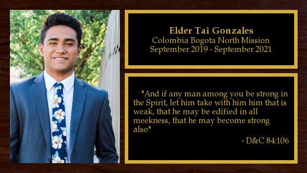September 2019 to September 2021<br/>Elder Tai Gonzales