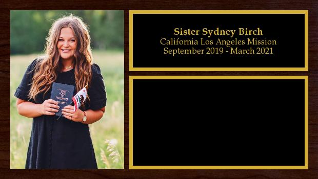 September 2019 to March 2021<br/>Sister Sydney Birch