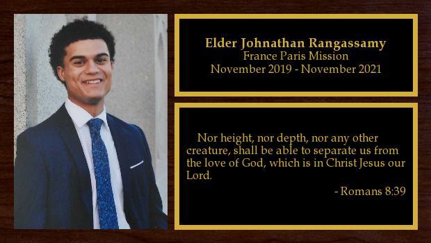 November 2019 to November 2021<br/>Elder Johnathan Rangassamy