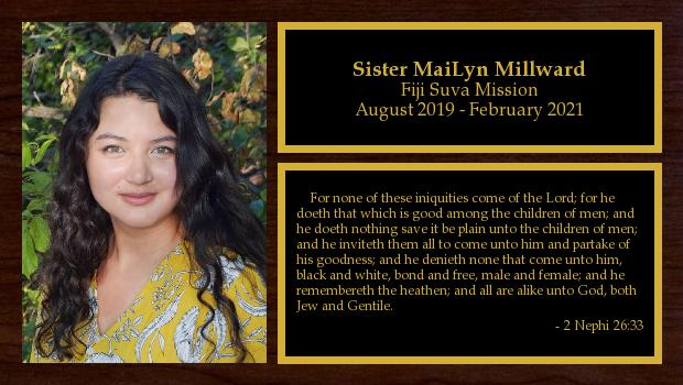 August 2019 to February 2021<br/>Sister MaiLyn Millward