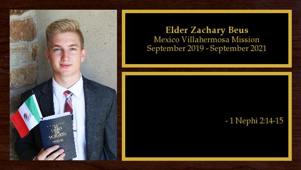September 2019 to September 2021<br/>Elder Zachary Beus