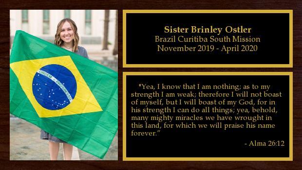 November 2019 to May 2021<br/>Sister Brinley Ostler