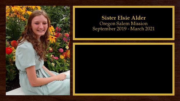 September 2019 to March 2021<br/>Sister Elsie Alder