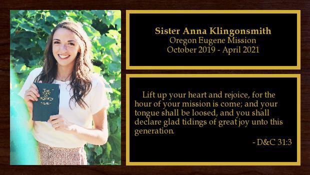 October 2019 to April 2021<br/>Sister Anna Klingonsmith