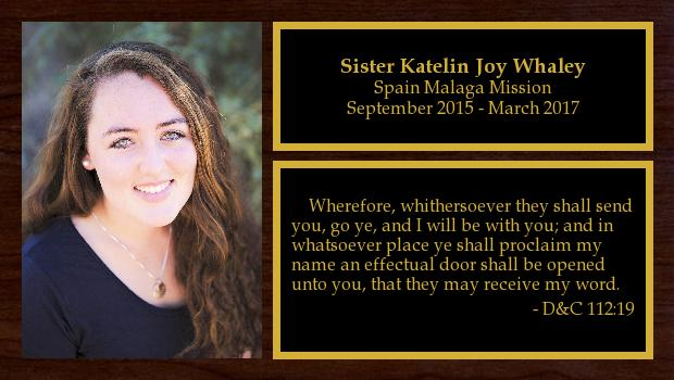 September 2015 to March 2017<br/>Sister Katelin Joy Whaley