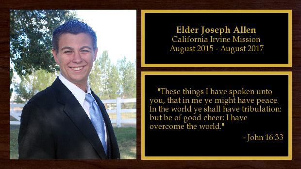 August 2015 to August 2017<br/>Elder Joseph Allen